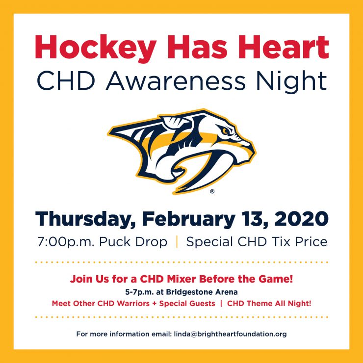 SAVE THE DATE!   Thurs, Feb 13, 2020  Hockey Has Heart:  CHD Awareness Night