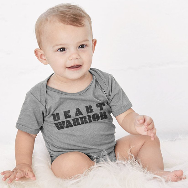 HEART WARRIOR BABY COZY GRAPHIC TEE ONESIE