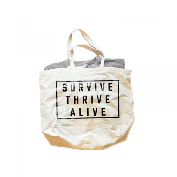 SURVIVE THRIVE ALIVE BLOCK GIFT SET - UNISEX CREWNECK SWEATSHIRT & JUMBO COTTON CANVAS TOTE