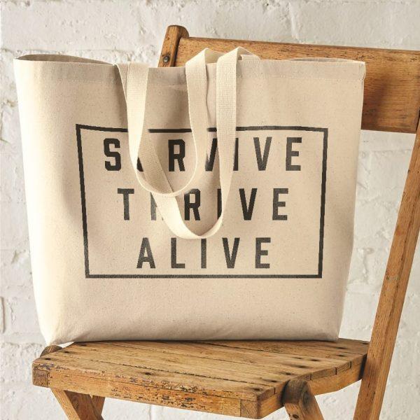 SURVIVE THRIVE ALIVE BLOCK ART JUMBO TOTE