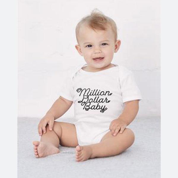 Million Dollar BabyCozy Graphic Tee Onesie in White